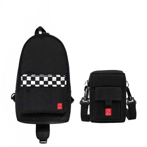 Combo túi đeo chéo nam thời trang Glado express GEX003 (màu đen) và túi đeo chéo đựng điện thoại GAR002 (màu đen)
