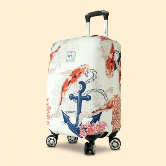 Túi bọc vali vải thun 4 chiều Trip Aquarium (con cá) size L