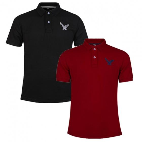 Áo thun nam có cổ polo dokafashion, combo 2 áo logo thêu màu xanh đen, đỏ đô