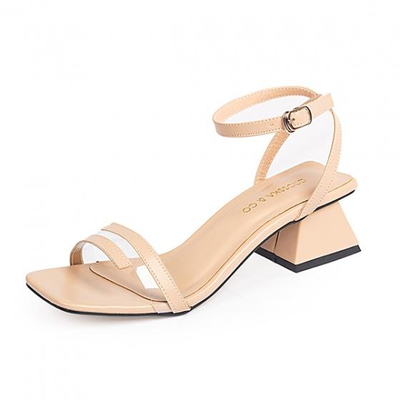 Giày nữ, giày cao gót vuông block heels erosska hở mũi quai mảnh thời trang cao 5 phân EB007 (NU)