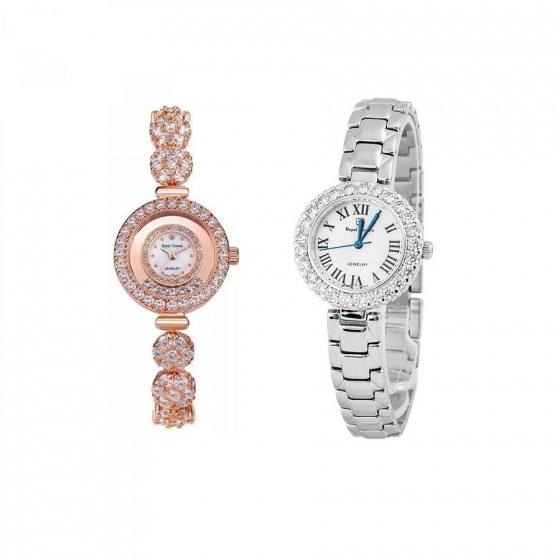 Combo 2 sản phẩm đồng hồ nữ chính hãng Royal Crown 5308 dây đá vàng hồng và 6305 dây thép