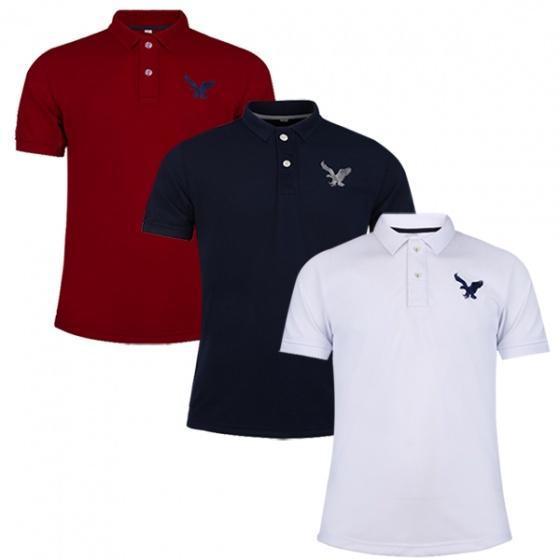 Áo phông nam có cổ polo dokafashion, combo 3 áo màu đỏ đô, đen, trắng BLACK DB307