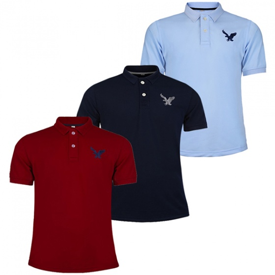 Áo phông nam có cổ polo dokafashion, combo 3 áo màu đỏ đô, xanh đen, xanh môn Black DB307