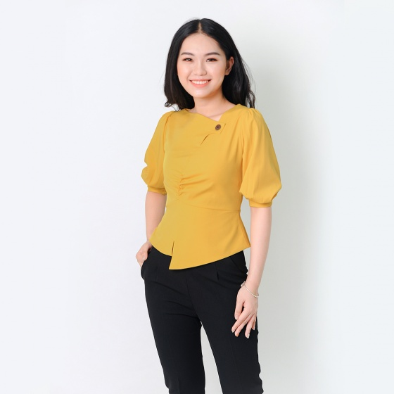 Áo kiểu thời trang Eden dáng ngắn cổ cách điệu màu vàng- ASM052