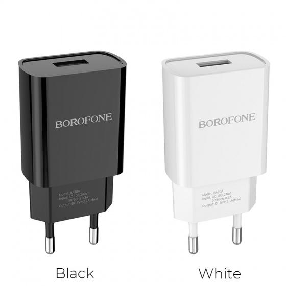 Cốc sạc Borofone BA20A, BA-20A - 1 cổng USB 2.1A (EU)
