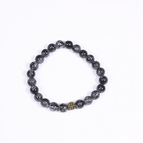 Vòng tay đá thạch anh tóc đen mix charm vàng gắn đá đen 6mm mệnh thủy, mộc - Ngọc Quý Gemstones