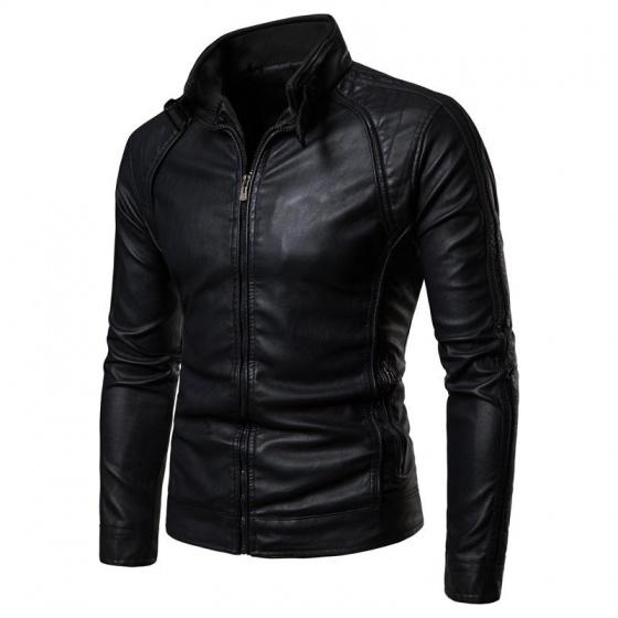 Áo khoác da nam lót lông phong cách Hàn Quốc 2019 BN19 - đen