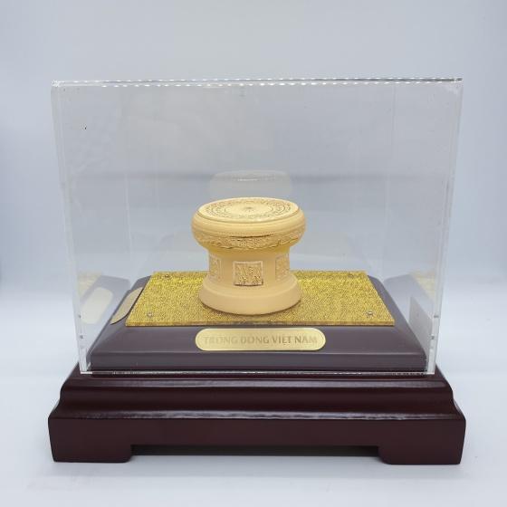 Trống đồng Việt Nam phủ vàng 24K quà tặng mỹ nghệ KBP DOJI DJ0805TDS