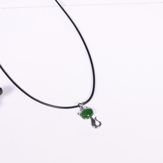 Mặt dây chuyền bạc hồ ly đá ngọc bích mệnh hỏa, mộc - Ngọc Quý Gemstones