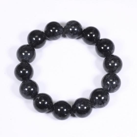 Vòng tay nam đá thạch anh tóc đen 15mm mệnh thủy, mộc - Ngọc Quý Gemstones