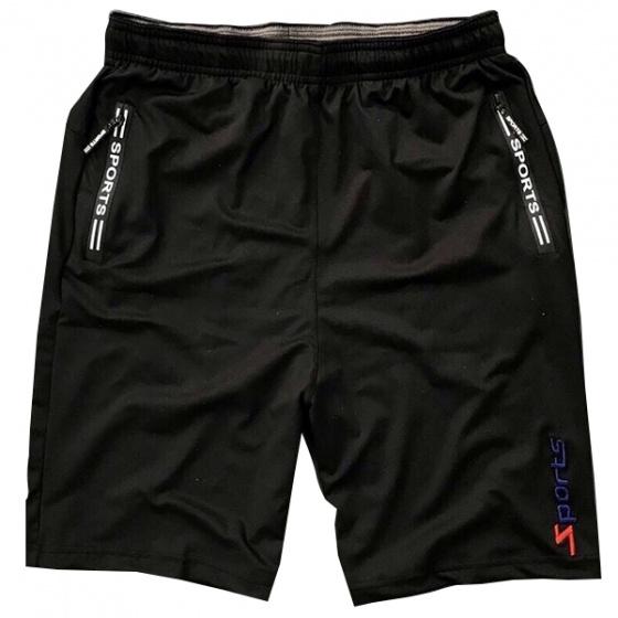 Quần short thể thao nam phối dây kéo lưng thun bản rộng màu đen - SOT02