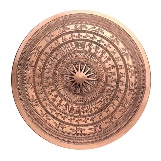 Mặt trống đồng đường kính 81cm, đồng đỏ, hoa văn chìm cao cấp