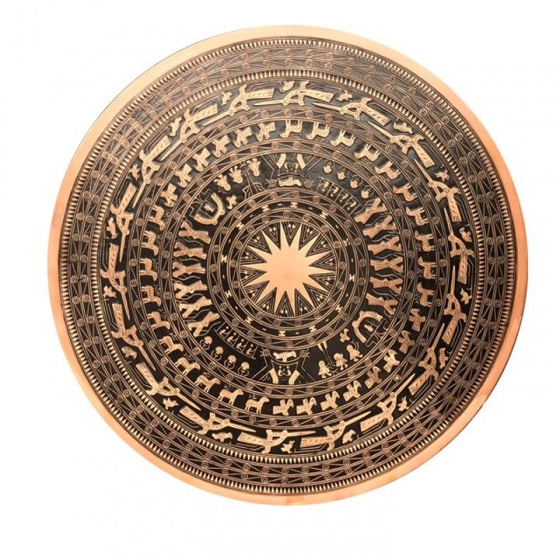 Mặt trống đồng đường kính 81cm, đồng đỏ, hoa văn nổi cao cấp