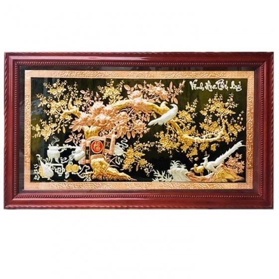 Tranh Vinh Hoa Phú Quý mạ tam khí khung gỗ Gụ 2m31 x 1m27