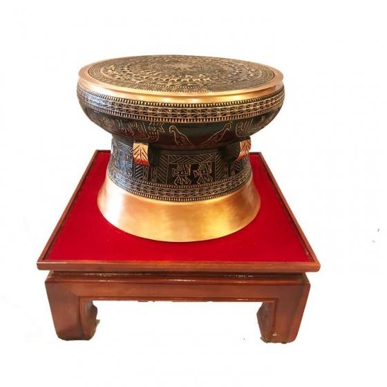 Quả trống đồng Ngọc Lũ đường kính 40cm, hoa văn nổi cao cấp