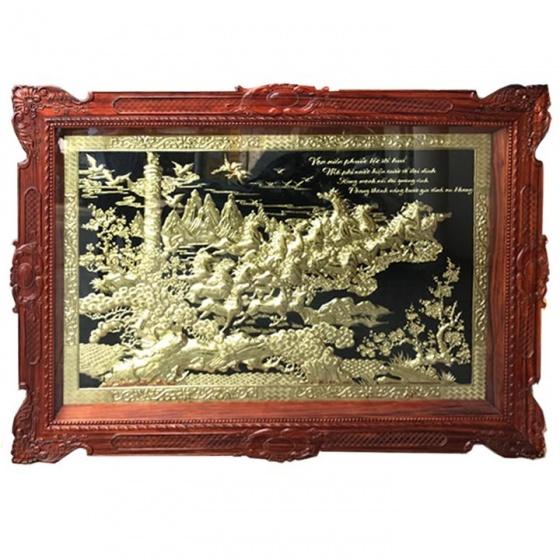 Tranh đồng cao cấp Vạn Mã Hùng Phong khung gỗ hương 1m93x1m33