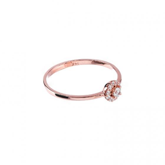 Nhẫn vàng hồng DOJI cao cấp 14K 0819R-LAL027