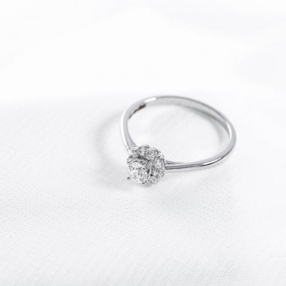 Nhẫn vàng trắng DOJI cao cấp 14K 0819R-LAL027