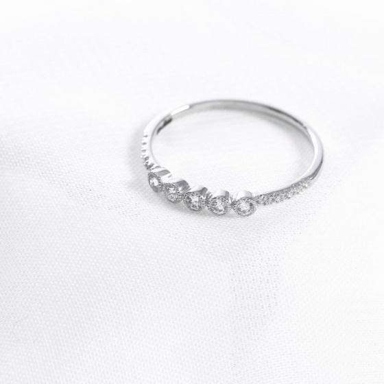 Nhẫn vàng trắng DOJI cao cấp 14K 0819R-LAL301