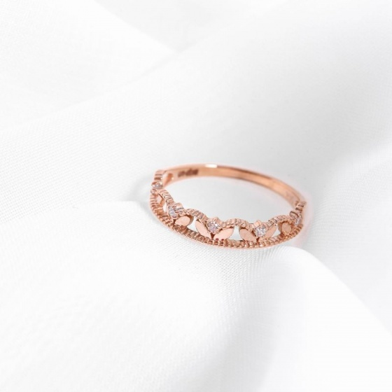 Nhẫn vàng hồng DOJI cao cấp 14K 0819R-LAL394