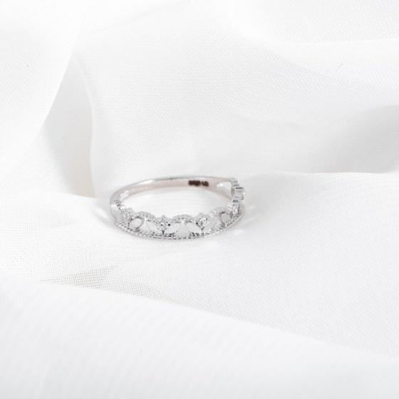 Nhẫn vàng trắng DOJI cao cấp 14K 0819R-LAL394