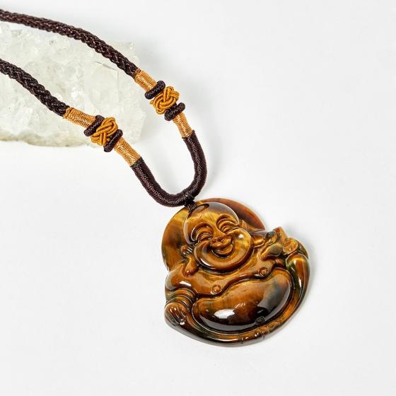 Mặt dây chuyền nam Phật Di Lặc đá thạch anh mắt hổ 40x40mm mệnh thổ, kim - Ngọc Quý Gemstones