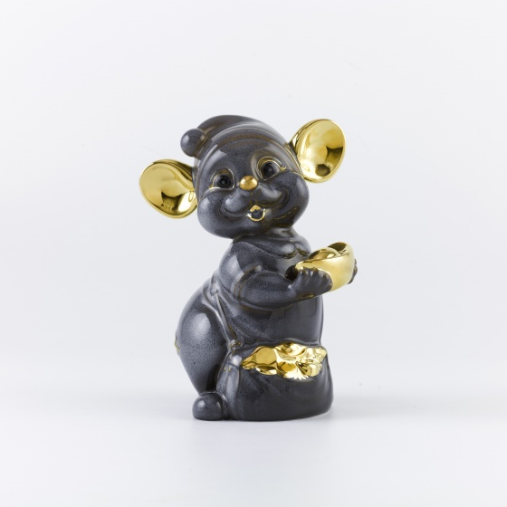 Chuột Quý 10 cm - màu xám - trang trí vàng 24K