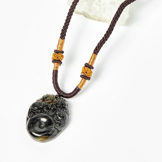 Mặt dây chuyền 2 tỳ hưu ngồi trên đồng điếu thạch anh mắt hổ xanh đen 32x25mm - Ngọc Quý Gemstones