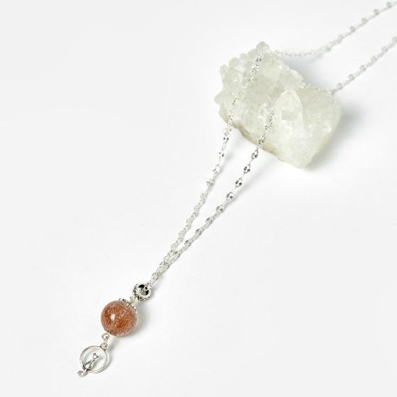 Mặt dây chuyền đá thạch anh tóc đỏ dây 50cm mệnh hỏa, thổ - Ngọc Quý Gemstones