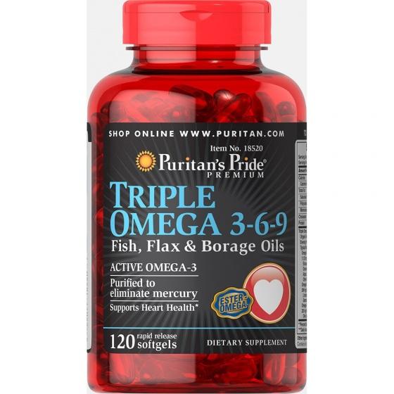 Viên uống tăng cường hệ miễn dịch Puritan's Pride Triple Omega 3-6-9 120 viên date 11/2020