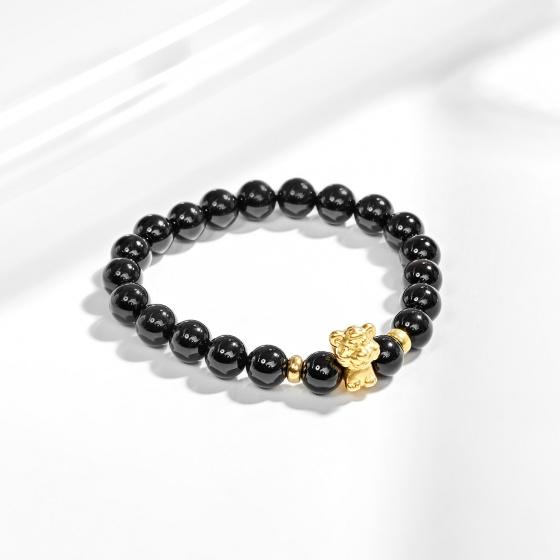 Vòng tay đá thiên thạch charm tuổi dần bạc mạ vàng 24k Ngọc Quý Gemstones