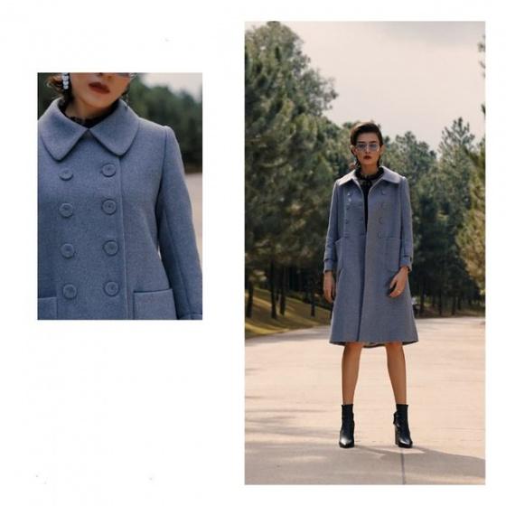 Áo măng tô dạ màu xanh HeraDG - WAM19004