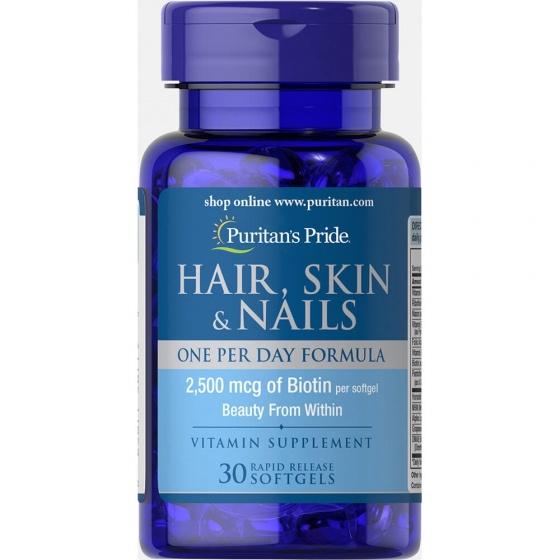 Viên uống đẹp da - ngừa rụng tóc - nứt gãy móng chân tay Puritan's Pride Hair skin nails 30v
