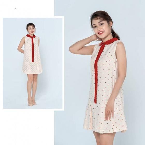 Đầm tơ be chấm đỏ HeraDG - SDC19084