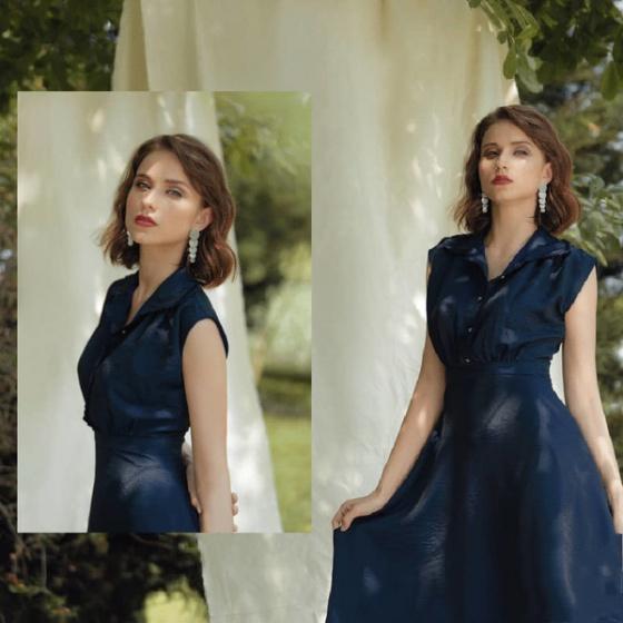 Đầm lụa xanh than HeraDG - SDP19086