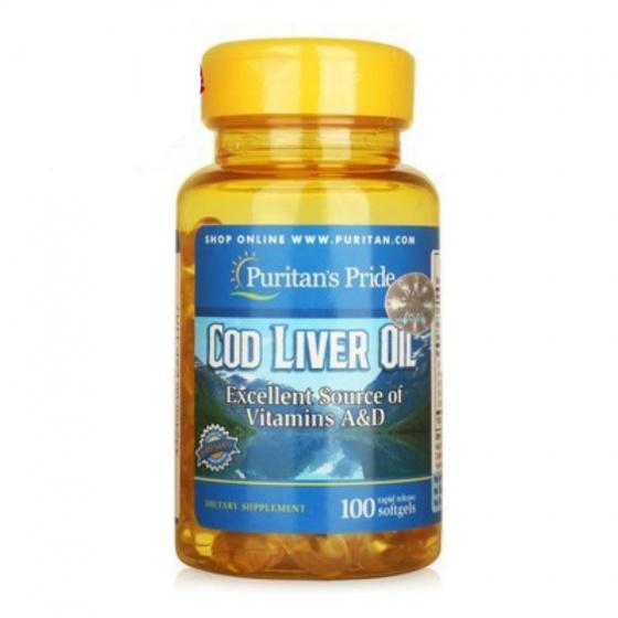 Viên dầu gan cá tuyết giúp bổ não, tăng cường thị lực Puritan's Pride Cod Liver Oil 100 viên