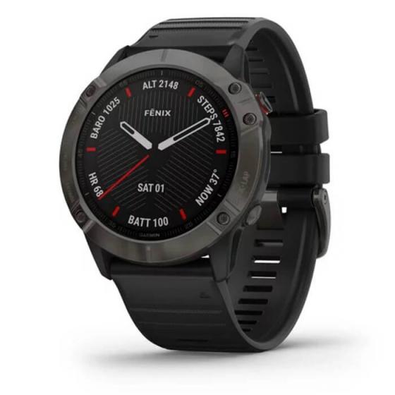 Đồng hồ thông minh Fenix 6X - Sapphire, Carbon Gray DLC with Black Band