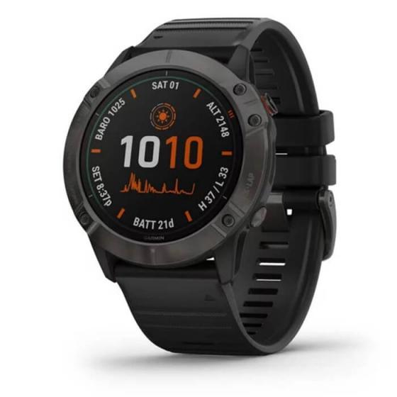 Đồng hồ thông minh Fenix 6X - Titanium Carbon Gray DLC with Black Band,Pro Solar