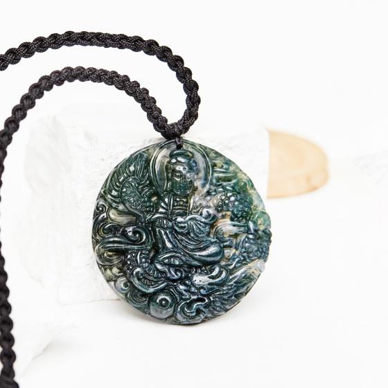 Mặt dây chuyền phật bà quan âm cưỡi rồng đá chalcedony mệnh mộc hỏa - Ngọc Quý Gemstones