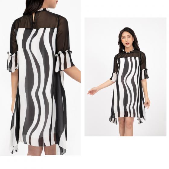 Đầm liền sọc đen trắng HeraDG - WDP18012