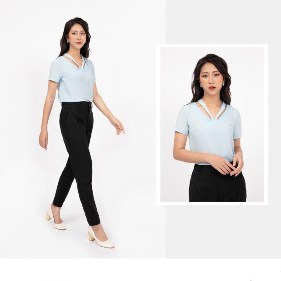 Áo kiểu nữ màu xanh HeraDG - SAK19024D