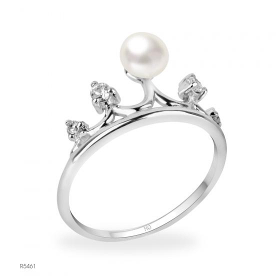 Nhẫn ngọc trai Freshwater trắng chất liệu bạc quý kim R5461