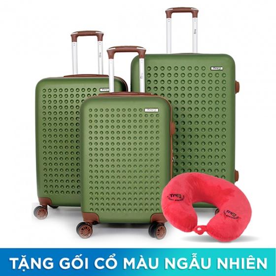 Set 3 vali Trip P803A size 50cm + 60cm + 70cm xanh rêu (tặng 3 gối cổ màu ngẫu nhiên)