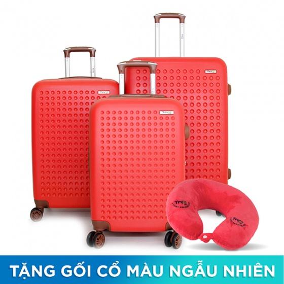 Set 3 vali Trip P803A size 50cm + 60cm + 70cm đỏ (tặng 3 gối cổ màu ngẫu nhiên)