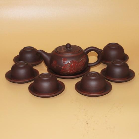 Bộ ấm trà Tử Sa Bát Tràng khắc sen đỏ