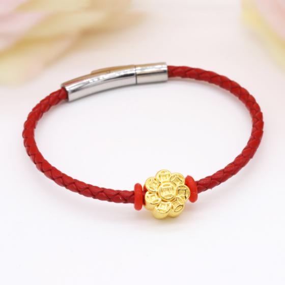 Vòng charm phong thủy hoa kim tiền vàng 24K DOJI CB60035-DDA