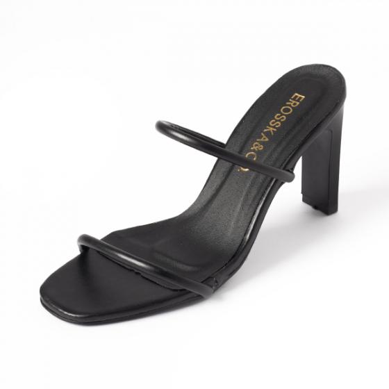 Dép cao gót Erosska thời trang mũi vuông phối dây quai mảnh cao 9cm EM036 (màu đen)