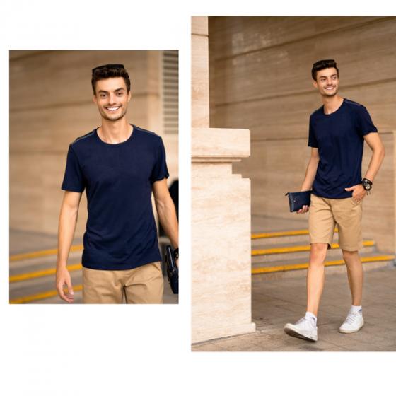 Áo phông nam ngắn tay ( slimfit) xanh than DGC - WAT1816M