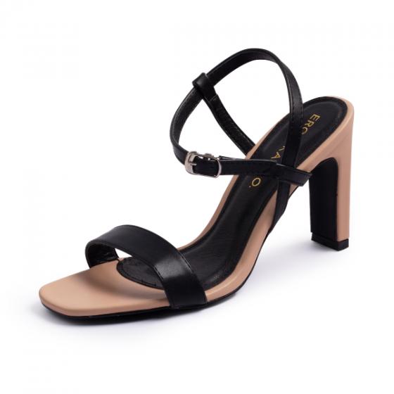 Giày sandal cao gót Erosska thời trang mũi vuông phối dây quai mảnh hở gót cao 9cm EB016 (màu đen)