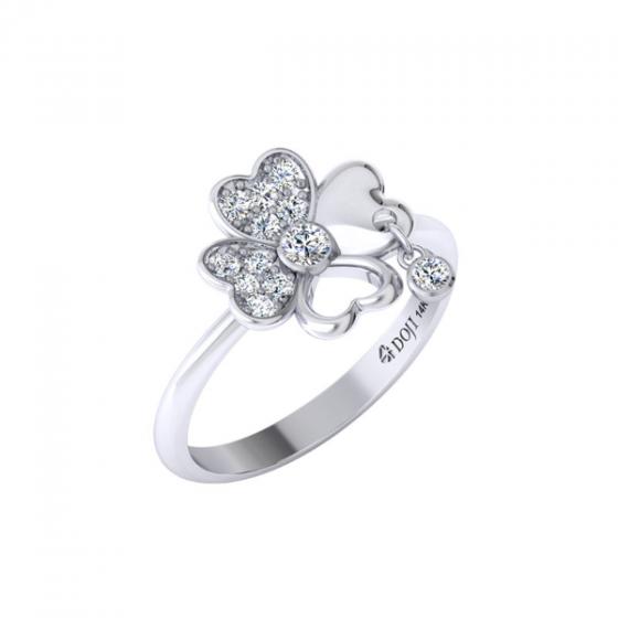 Nhẫn vàng trắng DOJI cao cấp 14K 0320R-LAL004-WG